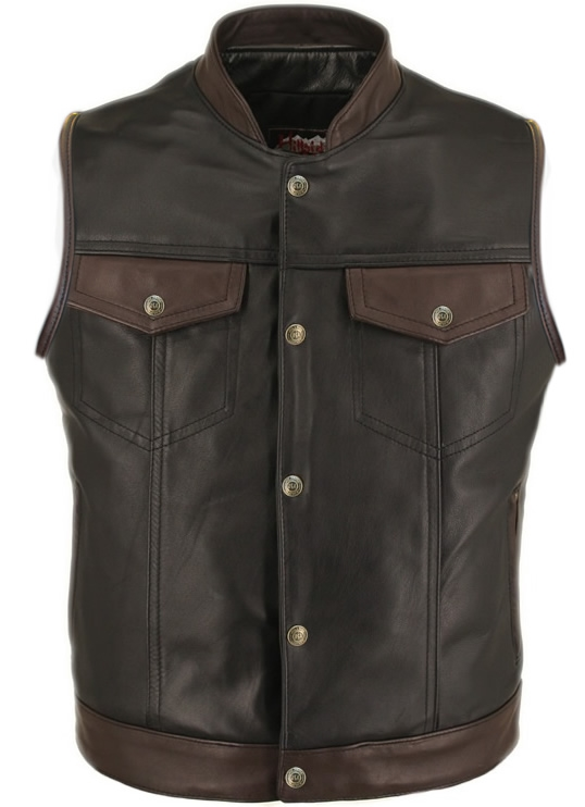 Men's Horsehide Stand up Collar - Two Tone Leather Vest. Hand finished by craftsmen with a meticulous eye for detail assures each vest is a single work of art. A combination of black and brown (2 -2 1/2 oz) front quarter genuine horsehide serve as a bold