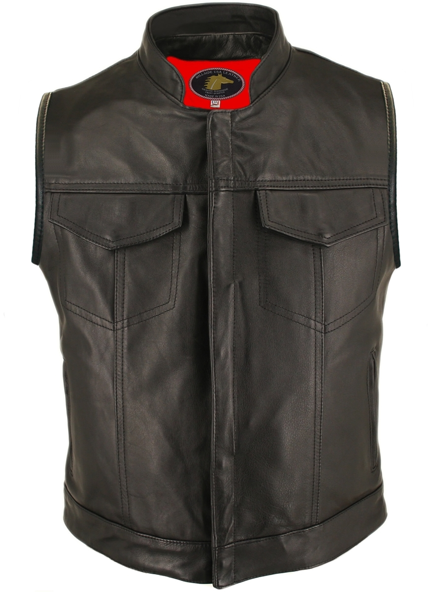 The Horsehide Denim Style Vest is a classic, always-in-style wardrobe choice. Carefully crafted with (2 -2 1/2 oz) front quarter genuine horsehide this vest features hidden snaps closures, two button flap chest pockets, and two hand-warmer zippered pocket