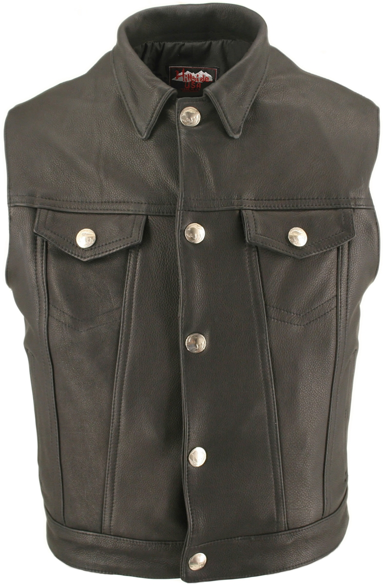 Men's Denim Style Vest With Collar. Classic high end looks combined with great comfort and value. Multi-panel stitched design, Genuine Buffalo Nickel throughout. 1.4-1.6mm (3 1/2- 4oz) Soft, Supple Cowhide Naked Leather, and with our standard features: Do