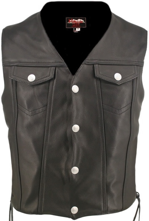 Men's Denim Style Vest Lace Side. Classic high end looks combined with great comfort and value. Multi-panel stitched design. 1.4-1.6mm (3 1/2- 4oz) Soft, Supple Cowhide Naked Leather, and with our standard features: Double sided leather interfacing enable