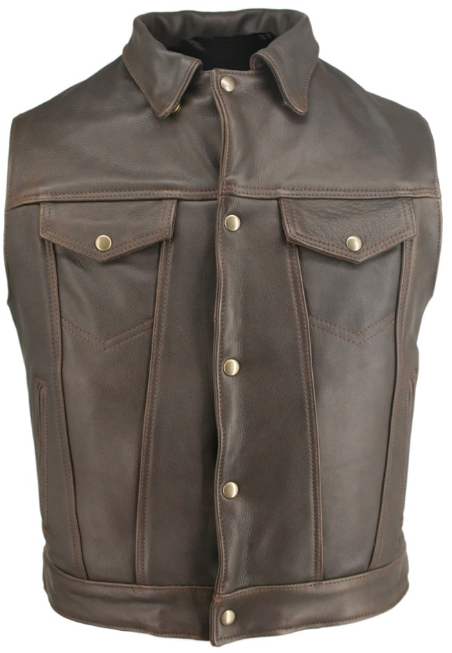 Men's Denim Style Vest With Collar. Classic high end looks combined with great comfort and value. Multi-panel stitched design, Antique Brass Snaps throughout. 1.2-1.4mm (3 - 3 1/2oz) Soft, Supple Distressed Brown leather, and with our standard features: D