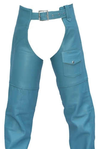 Few things beat the classic chaps when it comes to being both fashionable and functional . Handcrafted and stitched, in the USA represent the best that any competitor can offer. Crafted with 1.2-1.4 mm (3- 31/2 oz) Soft, Supple Baby Blue leather, YKK silv