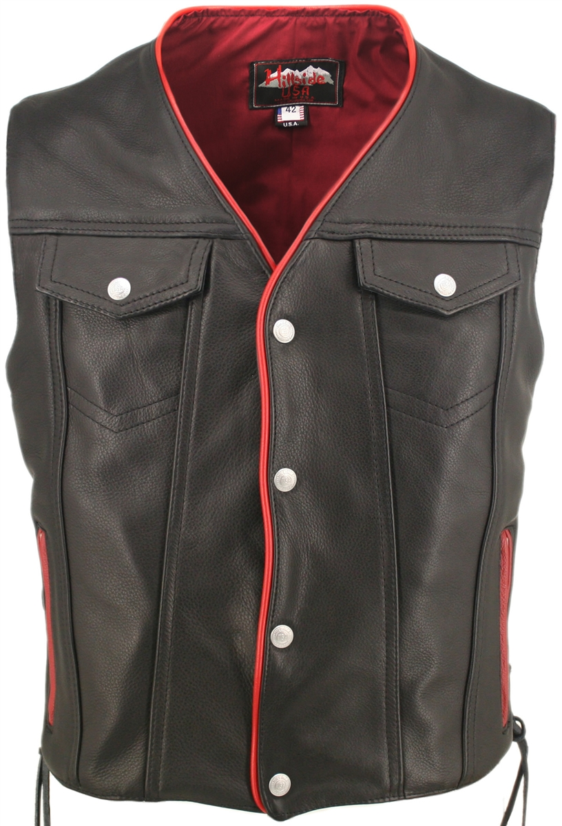 Men 39 S Black Leather Motorcycle Vest With Red Trim Gun