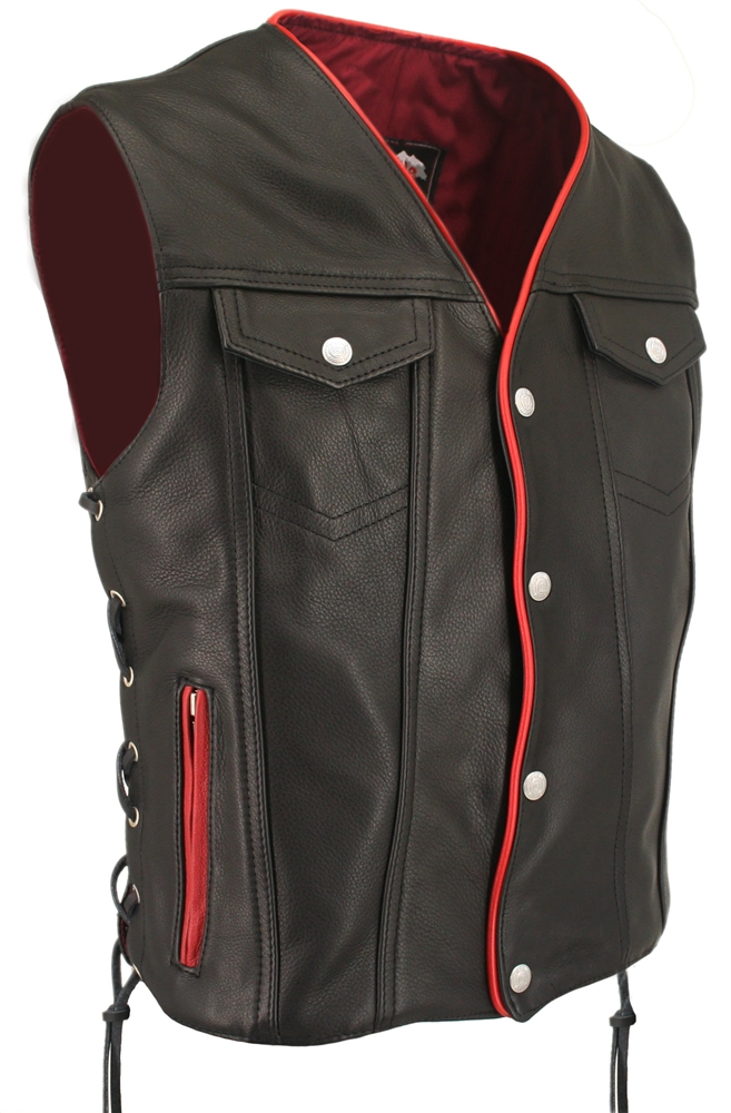 Men S Black Leather Motorcycle Vest With Red Trim Gun