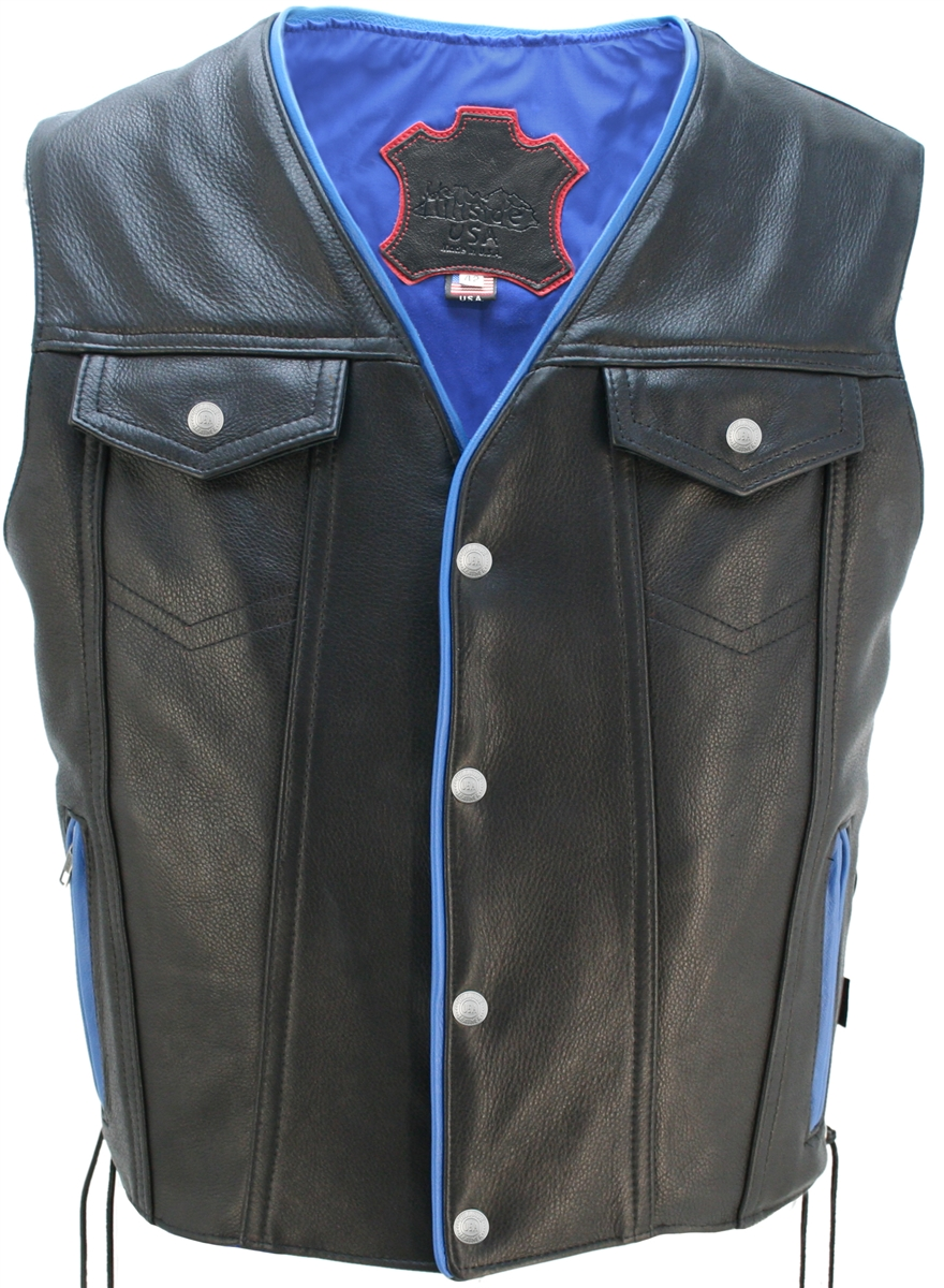 Men's Denim Style Lace Side /Blue Trim Leather Vest nowhere else you can find higher quality leather, unique designs and creatively tailored leather apparel than in Hillside USA. It all starts with the leather: 1.4-1.6mm (3 1/2- 4oz) soft, supple Cowhide