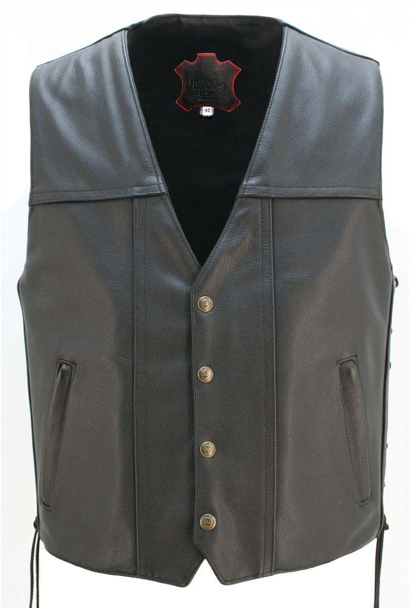 This vest was designed and executed by skilled craftsmen, combining the best leathers and materials in a collection of rugged and classic design. Features: 1.4-1.6 Top Grain Cowhide, two outside cordura lined pockets with hidden zippers closure, seamless