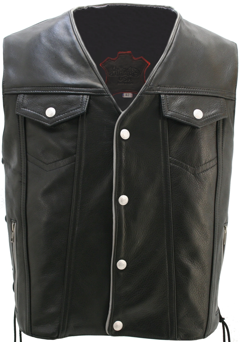 Men's Denim Style Lace Side/Reflective Trim Leather Vest. nowhere else you can find higher quality leather, unique designs and creatively tailored leather apparel than in Hillside USA. It all starts with the leather: 1.4-1.6mm (3 1/2- 4oz) soft, supple Co