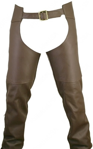 Men's Double Stitched Brown Leather Chaps. Functional, rugged, durable and attractive. Our chaps are hand-crafted and custom-made in the USA. Designed just for you and made to order. Double stitch, brown 1.6-1.8 mm (4-41/2 oz.) Soft, Supple, and Thick Cow