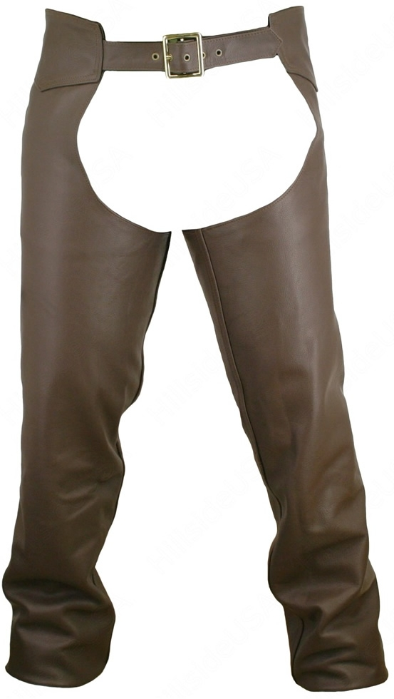 Men's Seamless Leather Chaps Brown. Our Riding Chaps are built to last, providing ultimate grip, comfort and protection. Made from the finest heavyweight 1.6-1.8 mm (4-41/2 oz) Soft, Supple, and Thick Cowhide Naked leather. YKK antique brass hardware. Hil