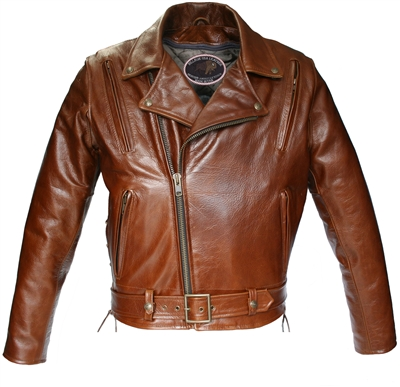 American Bison Vented Biker Jacket Brown