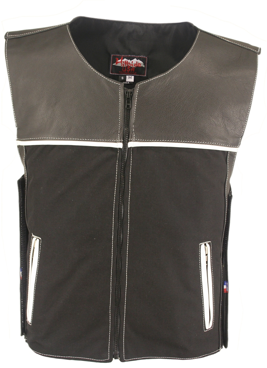 CX Combo Cordura Leather Vest Black White