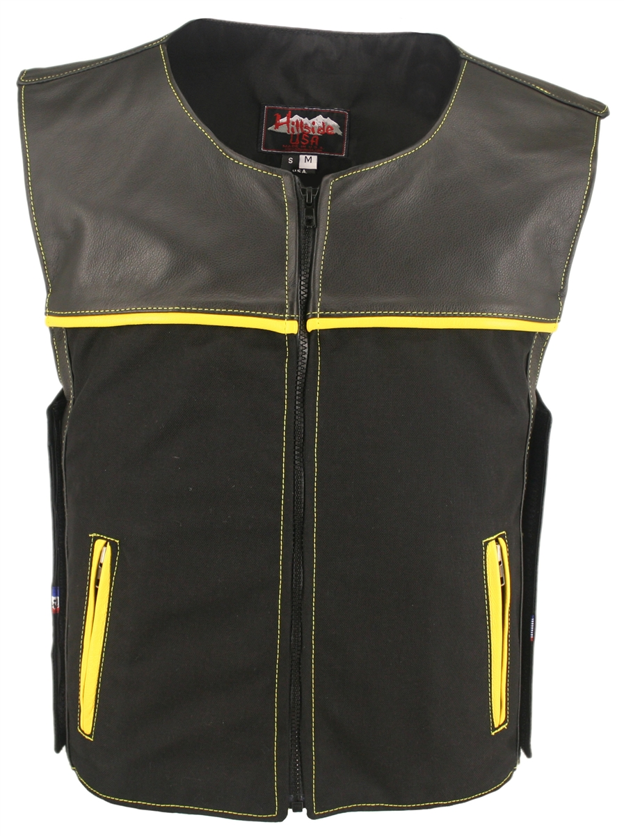 Utilizing the features from the GSX Combo, Hillside USA created the CX Combo. Versatile and extremely functional vest with the following unique design features: Light weight combination of leather and waterproof Denier Cordura 1000 fabric, joint shoulders