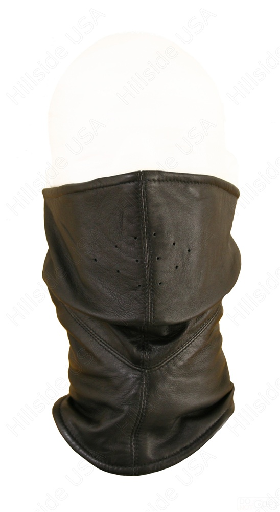 This is a well constructed, fleece lined, leather mask that is sewn to conform around the nose and under the chin. It is attached in the back by velcro with quite a bit of room for adjustment. A great piece for chilly rides!  Lifetime Guarantee.