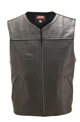 Zippered Lightweight Leather Motorcycle Vest