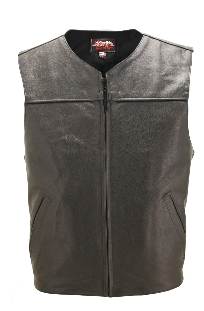 Zippered Lightweight Leather Motorcycle Vest, Comfort, quality and style that molds to you body, completely different. From top to bottom, the artistically elegant design will demand the attention of all. Large panel back easy to add patches or custom emb