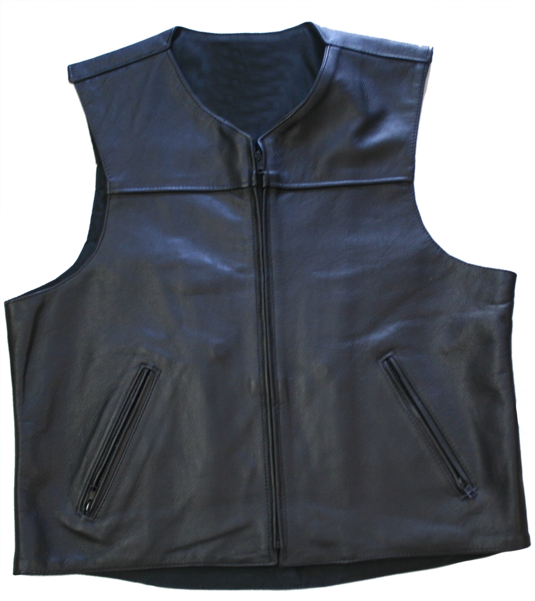 Zippered Lightweight Leather Motorcycle Vest, Comfort, quality and style that molds to you body, completely different.