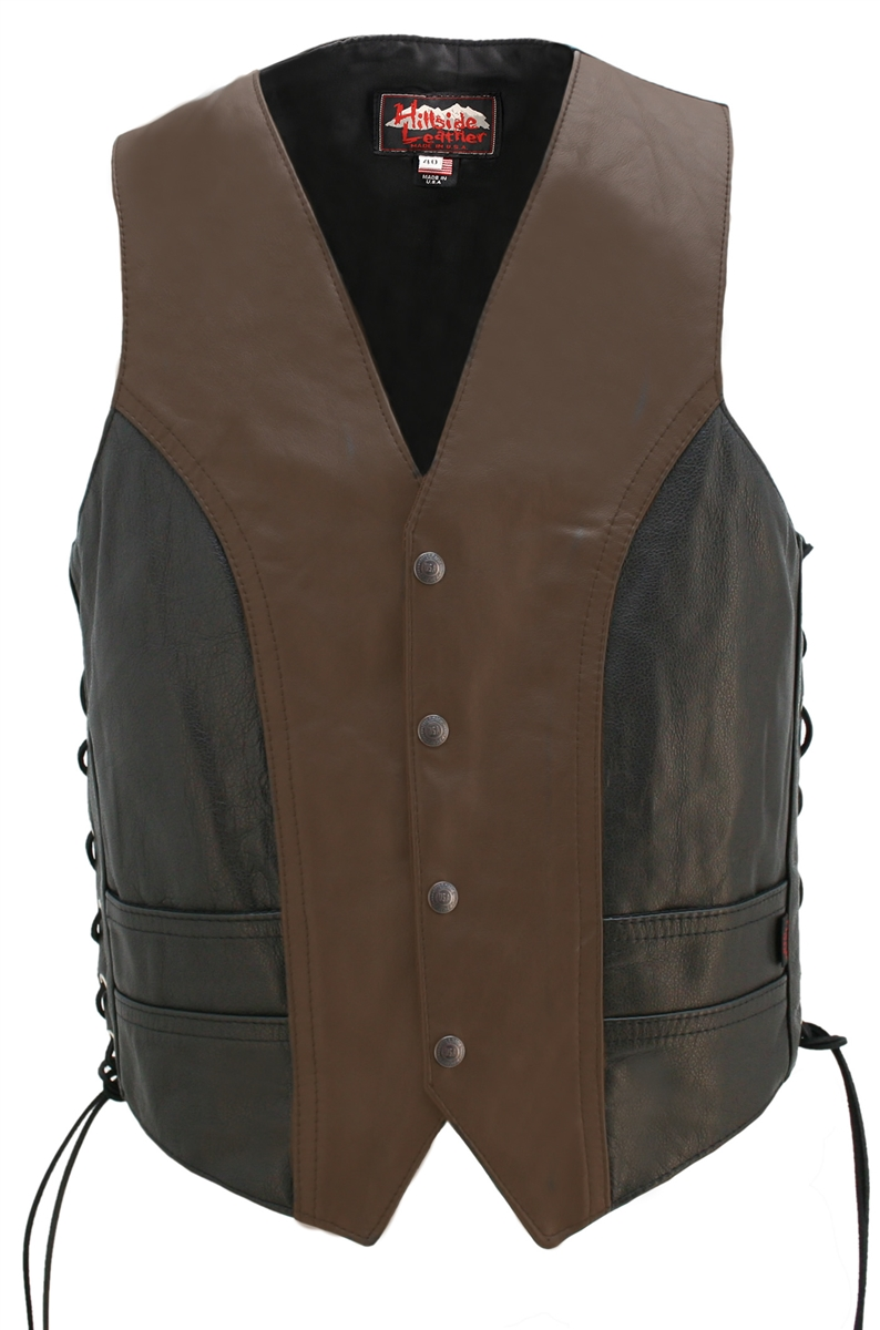 Two Tone Lightweight Biker Vest. Hand-crafted from 1.2mm top grain Cowhide leather. One-piece main back panel perfect for motorcycle patches heavy-weight ballistic nylon (Cordura)to line the concealed-carry pockets. Hillside USA Snaps Closure. Designed an