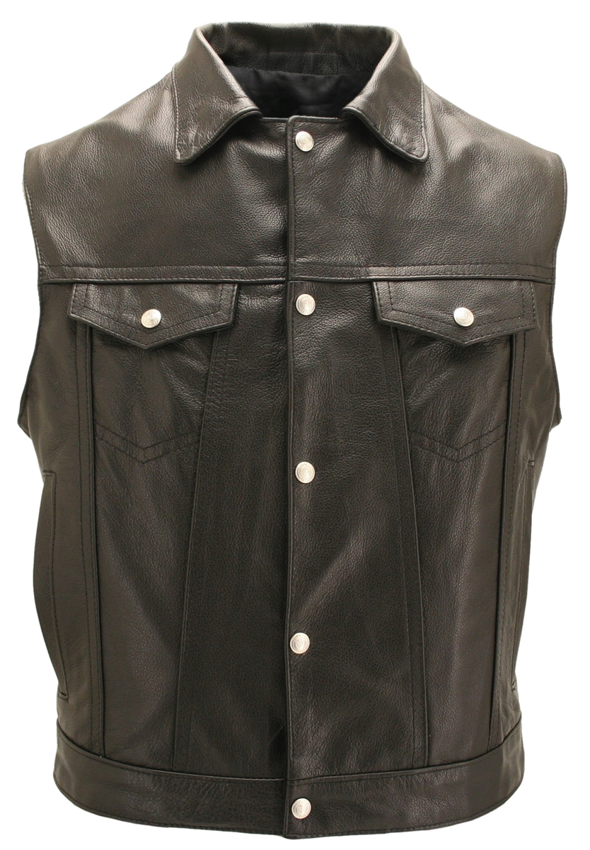 Men's Black Leather Motorcycle Vest with Snap Down Collar & Gun Pockets- Made in USA. Classic high end looks combined with great comfort and value. Single Back panel perfect for motorcycle patches, crafted from 1.2mm top grain Cowhide leather. Standard fe