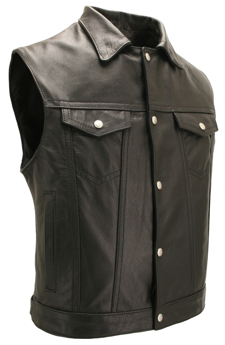 Motorcycle Vest With Snap Down Collar And Gun Pockets