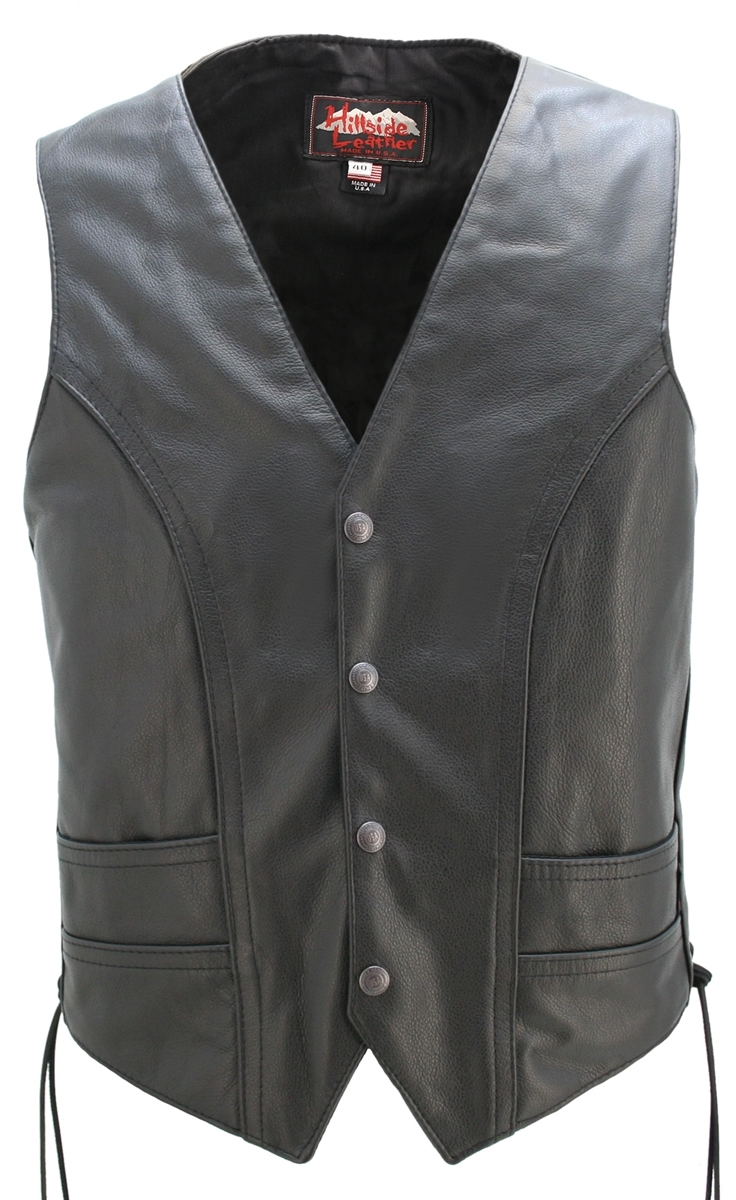 Laced Full Back Motorcycle Vest, Crafted with 1.2mm top grain Cowhide leather, double stitched lines throughout. Single Panel Back to fit your Club Colors or Patches. heavy-weight ballistic nylon (Cordura)to line the concealed-carry pockets.
