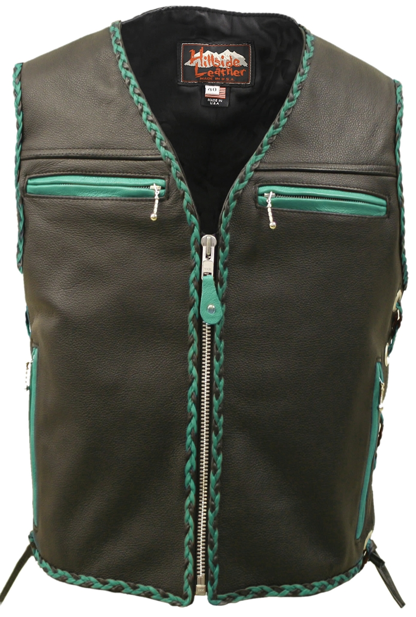 The Elite Black Motorcycle Leather Vest Green Black Braiding