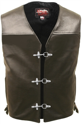 Elite Motorcycle Leather Vest with hooks