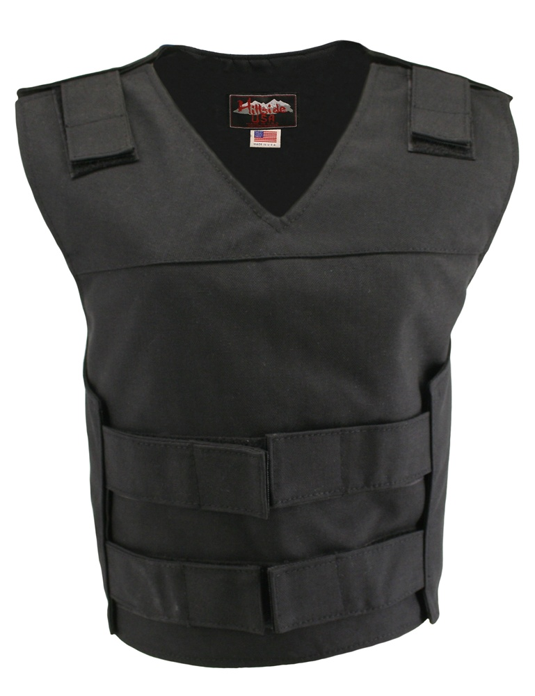 Women's Black Cordura Bulletproof Style Vests, offers the same quality as the standard bullet proof style model, adding the functionality and quality that only Hillside USA can offer. Hand-crafted with durable USA Denier Cordura 1000. Large panel back eas