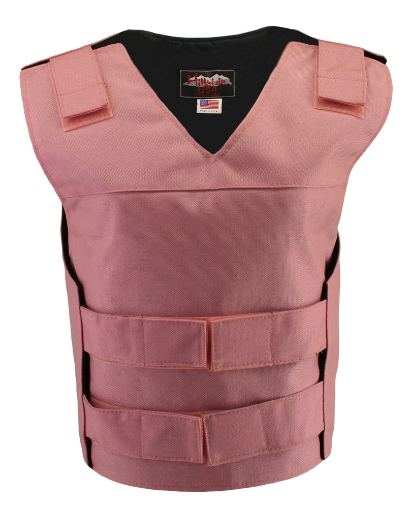 Women's Pink Cordura Bullet proof Style Vests, offers the same quality as the standard bulletproof style model, adding the functionality and quality that only Hillside USA can offer. Hand-crafted with durable USA Denier Cordura 1000. Large panel back easy