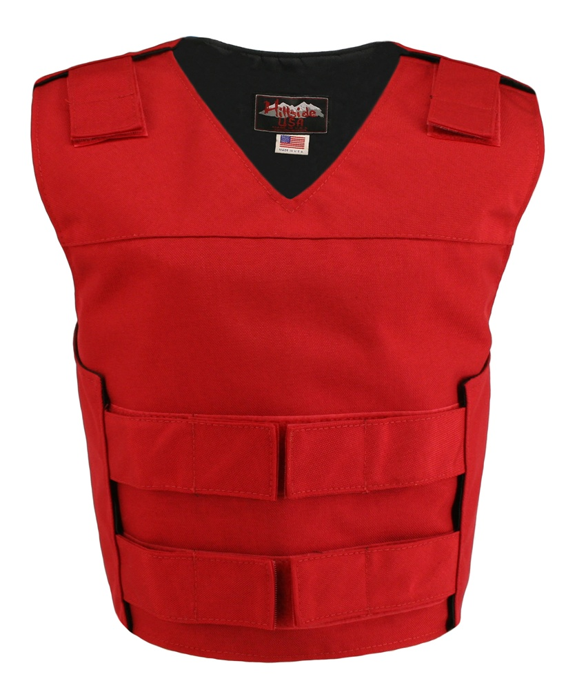 Women's Red Cordura Bulletproof Style Vests, offers the same quality as the standard bullet proof style model, adding the functionality and quality that only Hillside USA can offer. Hand-crafted with durable USA Denier Cordura 1000. Large panel back easy