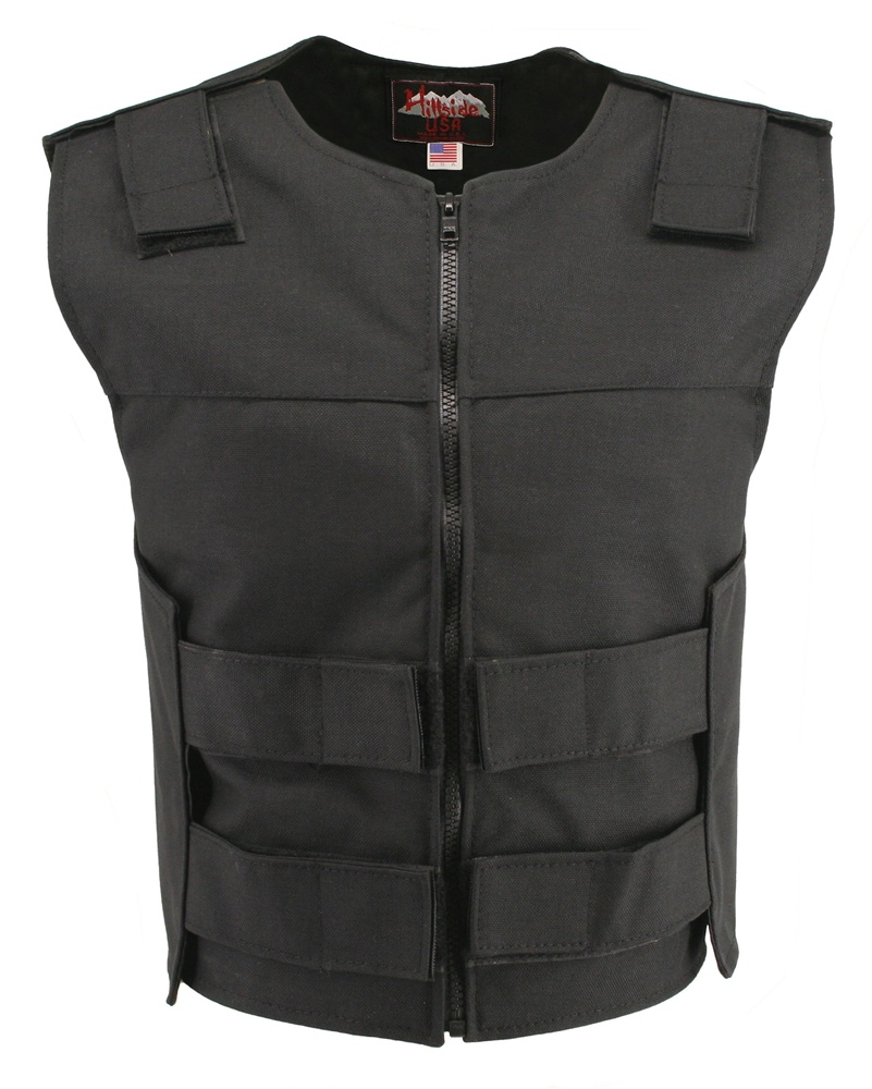 Women's Black Cordura Zippered Bulletproof Style Vests, offers the same quality as the standard bulletproof style model, with a front zipper, adding the functionality and quality that only Hillside USA can offer. Hand-crafted with durable USA Denier Cordu