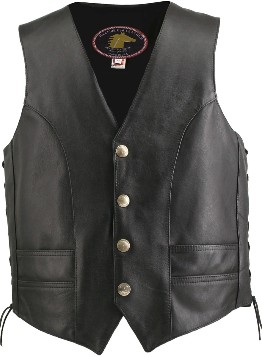 f6aa13847a9 Men s Hillside USA Horsehide Biker Vest. Tap to expand