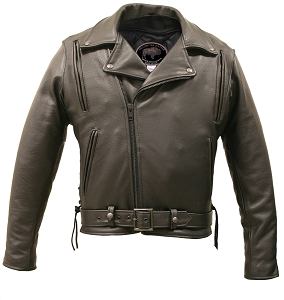 American Bison Vented Biker Jacket Black