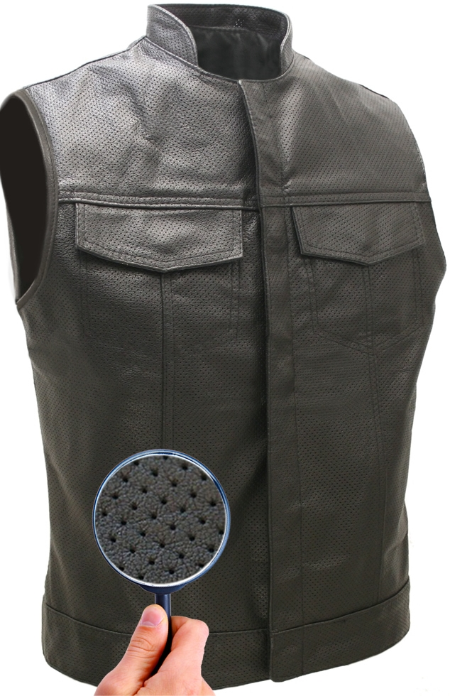 Vest Leather Biker Style Perforated Club m0wvN8n