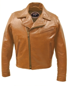 Half Belt Classic Biker Bison Jacket (Saddle Brown)