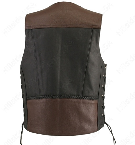 Hot Leathers Braided Indian Head Nickel Vest Extender Black, 4