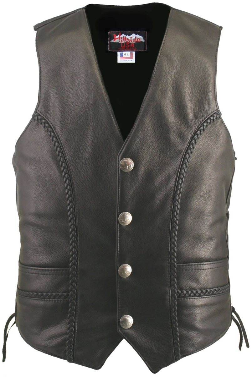Mens Leather Vest Concealed Gun Pockets 12 Pockets Laced Sides Naked Cowhide NEW