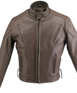 Men's Brown Vented Leather Jacket
