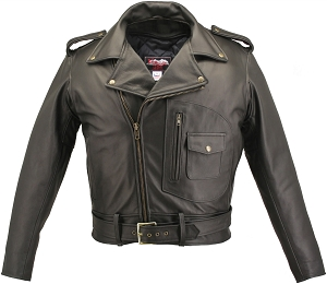 Men's D Pocket Biker Leather Jacket