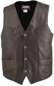 Men's Distressed Brown Classic Biker Vest