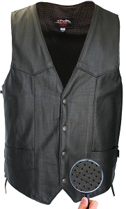 Men's Laced Side Full Perforated Classic Biker Vest