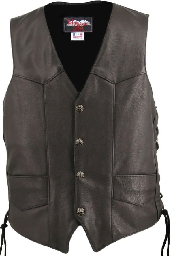 5bbebb5d5 Men's Solid Back Panel Biker Leather Vest Black