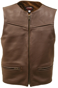 Men's Zipper Racer Leather Vest Brown