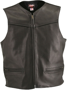 Men's Zipper Racer Leather Vest