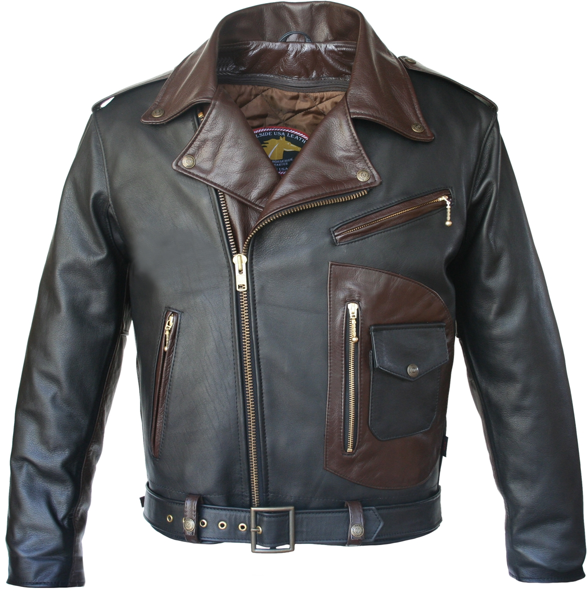 Hillside USA Two Tone D Pocket Horsehide Motorcycle Jacket