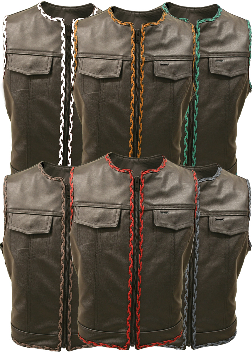 Outlaw All Leather Braided Biker Vest Side Lace