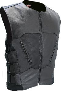 The Interceptor Leather Vest - Black
