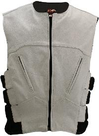 The Interceptor Leather Vest White