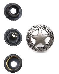 Star with Floral Border Snap Cap Nickel