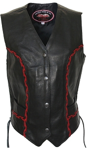 Women's Braided Vest (Black / Red)