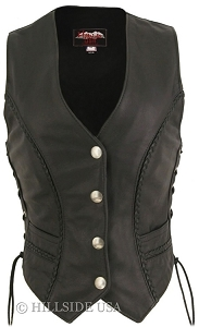 Women's Braided Leather Vest (Custom)